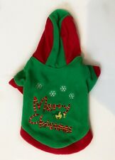 NEW Pet dog Christmas Sweater Warm Breathable Fleece Dog Coat Hoodie Red Green S