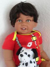 "Reborn 22"" Toddler Boy  Doll ""Giggles Mikey Fireman""-med. skin tone, ethnic"