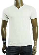New Mens INC Mini Split Neck White Slub Cotton Short Sleeve T Shirt Tee
