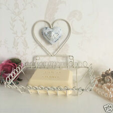 Shabby Chic Heart Soap Dish / Holder White French Vintage Bathroom Kitchen
