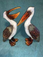 """Vintage Carved Painted Wood Pelican Ocean Shore Bird Statue Pair 12"""""""