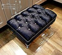 black Crushed velvet Foot Rest Pouffe foot Stool QueenAnne Legs British Made UK