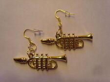 Ohrringe goldfarben Trompete Musik Instrument aus Kunststoff Größe ca:4,5 cm1625