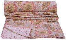 Ethnic Single Floral Beige Kantha Indian Quilt Bedspread Blanket Cotton Throw