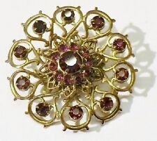 broche bijou vintage relief ajouré cristaux couleur améthyste couleur or * 3939