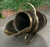Rare Antique Brass Bound Oak Barrel Shaped Victorian Scuttle