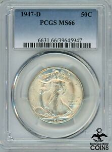 1947-D United States Liberty Walking Half Dollar Silver 90% Coin PCGS MS66