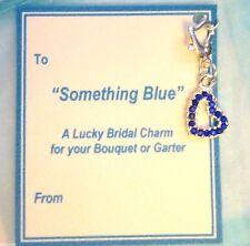 Algo Azul Cristal Corazón Clip-on Lucky nupcial encanto Liga ramo + Regalo Etiqueta