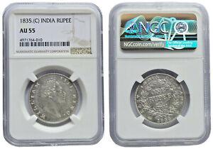 EIC William IV 1835 Calcutta Mint Prid#34 NGC Graded AU 55