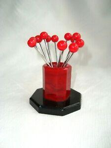 French Art Deco Black & Red Bakelite 12 Cocktail Pick Holder Set