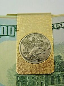 Men's Gold Toned Money Clip with Silver Issue 2 Gr Fine Silver 1776 Eagle Round