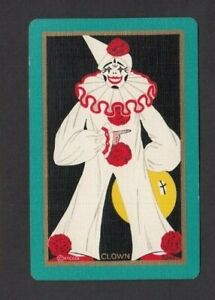 1 PLAYING SWAP CARD 1930 ART DECO CIRCUS CLOWN PERFORMER BRIGHT YELLOW BALL