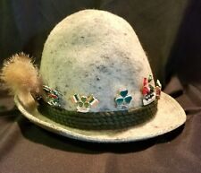 VINTAGE TYROLEAN ALPINE HAT Dove Gray w/ 7 PINS Schaldminger October fest Mizpah