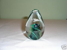 Vintage Egg / Cone Shaped Abstract Sm Crystal Art Glass Multi-Color Paperweight