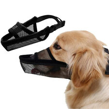 Pet Dog Muzzle Soft Nylon Adjustable Breathable Mesh Dog Mask Mouth Cover Us
