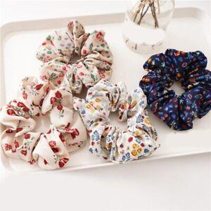 Floral Printed Rubber Band Hair Ring Ponytail Elastic Hair Ties Rope Scrunchie