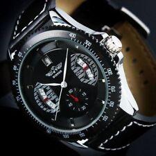 Montre NEUVE Automatique Homme Date NOIR Bracelet Cuir Noir pour lui WM121