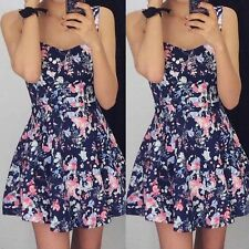US Women Sleeveless Floral Sexy Party Evening Cocktail Casual Short Mini Dress M