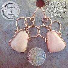 Wirewrapped cuivre Trapeze Quartz Rose Dangle Angel Boucles d'oreilles