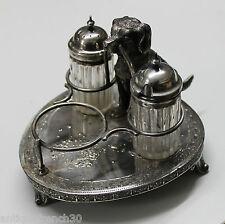 Service à condiments en métal argenté Art déco, salière poivrier, James Deakin