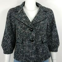 Semantiks Women's Jacket Size 2 Tweed Style 3/4 Sleeves Black/White