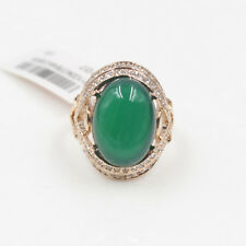 Genuine Rose Gold Emerald-Green Jade Engagement Eternity Ring size 8