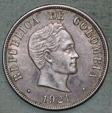 COLOMBIA 1921~ 50 CENTAVOS  SIMON BOLIVAR ~XF/AU~SILVER KM 193.2