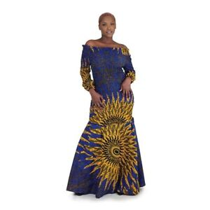 Blue Sun Elastic Long African Dress Delivery In About 8 Days