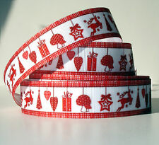 "Red Christmas Mix 7/8"" grosgrain ribbon 4 yds. reindeer trees hearts gifts star"