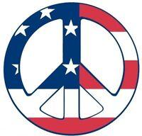 PEACE SYMBOL USA FLAG STICKER / DECAL