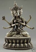 Collect Old Tibet Buddhism Cupronickel Carve Buddha 3 Head 6 Arm Statue
