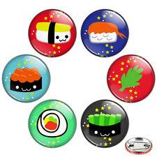 "Yum Yum Sushi 1.25"" Pinback Button BADGE SET Novelty Pins Kawaii Cute Food 32 mm"