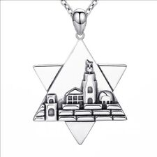 Star of David Necklace Chain Judaica 925 Sterling Silver Jerusalem Charm the