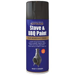 Fire Stove & BBQ Heat Proof Black Matt Spray Paint 400ml Rust-Oleum
