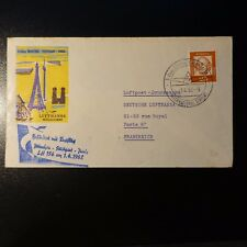 ALLEMAGNE AVIATION LETTRE COVER PREMIER VOL MUNCHEN STUTTGART PARIS 1962