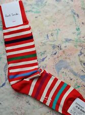 Paul Smith Mens English Socks Dash Stripe Red Multi Colour K720 One Size Cotton