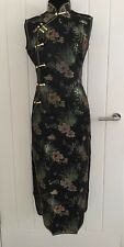 Vintage black Chinese Party Sleeveless Dress Size L in Uk 10 Brand New