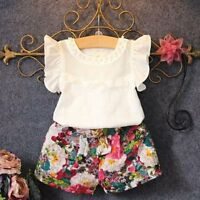 1Y-6Y Kids Baby Girls Outfit Clothes T-shirt Tops+Shorts Floral Pants 2PCS Set