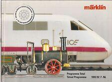 MARKLIN HO Z & GAUGE 1 MODEL RAILWAYS 1991-92 CATALOGUE (FRENCH & DUTCH TEXT )
