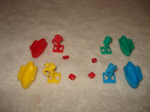 1992 FORBIDDEN BRIDGE Game Replacement Parts Pawns Canoes boat Jewels