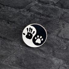 Taiji black&white round pendant Human hand print&dog paw print pins Brooch VP