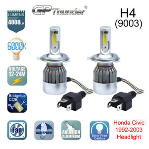 2 Bulbs H4 HB2 9003 CREE LED Headlight Hi/Lo Bulbs 6000K Honda Civic 1992-2003