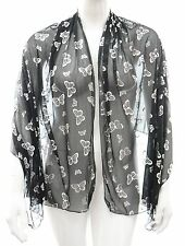 New womens silver butterfly print detail shawl scarf top one size LICK