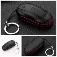 Car Key Fob Cover Genuine Leather Black For Tesla Model X Keychain Bag Protecter
