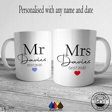 Personalised Mr and Mrs Mug Set Mugs Cup Newlyweds Wedding Day Gifts