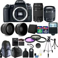 Canon EOS 77D 24.2MP DSLR Camera + 18-55mm + 75-300mm + 24GB Accessory Bundle