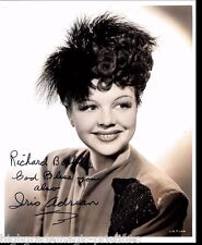 IRIS ADRIAN, ACTRESS (DECEASED) SIGNED 8X10 JSA AUTHENTICATED COA  #N38641