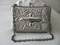 Antique Art Nouveau Grape Vine Silver Metal Chatelaine Card Case Coin Purse