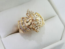 Unique CID 14k Yellow Gold Diamond Cluster Ring Size 8 Ring 6.2 Grams - 4218