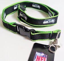 SEATTLE SEAHAWKS NFL EDGE 2 TONE LANYARD Keychain Clip ID / BADGE HOLDER NWT